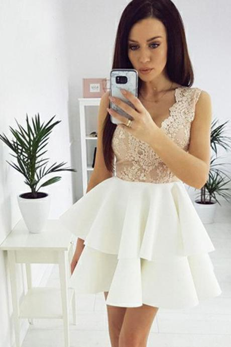 Sexy V-Neck Ivory Homecoming Dresses,Lace Appliqued Sleeveless Homecoming Dress with Champagne Top,Mini Party Dress,H128