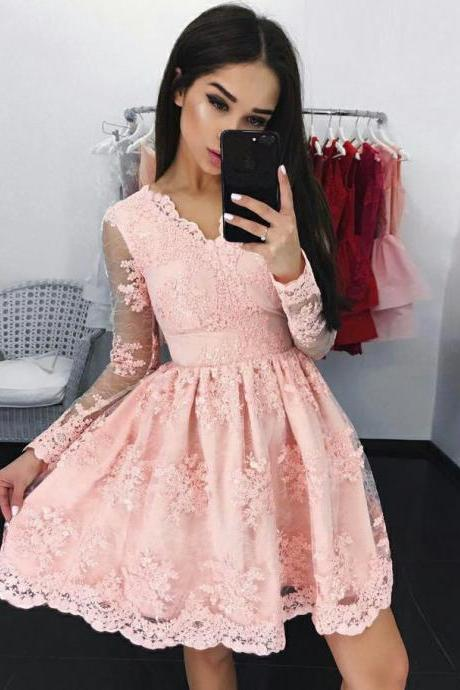 A-Line V-Neck Homecoming Gown,Long Sleeves Short Pink Lace Appliqued Homecoming Dress,Tulle Graduation Dress with Appliques,H129