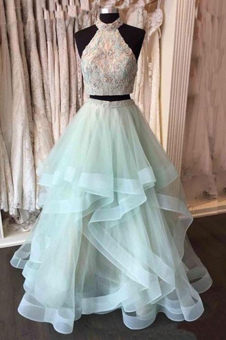 Two Pieces Beading Sleeveless High Neck Prom Dresses,Long Prom Dresses,Asymmetrical Tulle Prom Dresses,Evening Dress,Formal Women Dress,P095