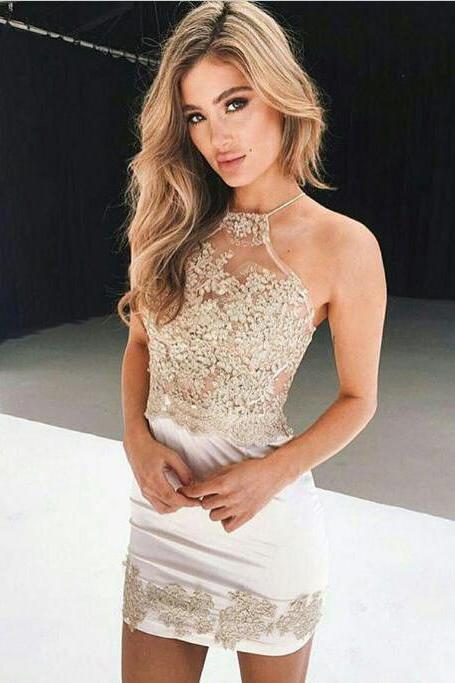 Sheath Halter Short Criss-Cross Straps Ivory Homecoming Dress with Champagne Appliques,Sexy Sleeveless Mini Party Dresses,H140