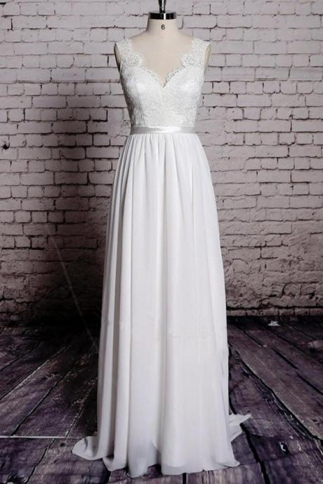 A-line V-Neck Backless Sleeveless Long Chiffon Wedding Dress with Lace Top,Sweep Train Bridal Dresses,Bridal Gown,Beach Wedding Dresses,W048