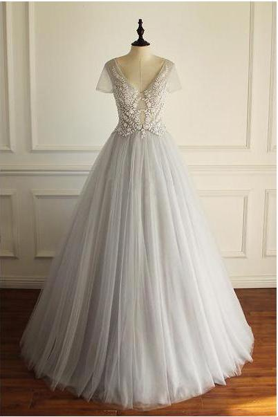 Charming Tulle Short Sleeves Gorgeous V Neck Sexy Floor-length Wedding Dress,Appliques Bridals Dress,Long Prom Dresses,P111