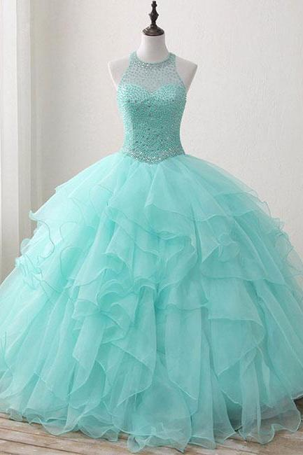 Mint Floor-length Jewel Sleeveless Ball Gown Beading Tulle Quinceanera Dresses,Big Prom Dresses,Graduation Dresses,Quinceanera Dresses,Q013