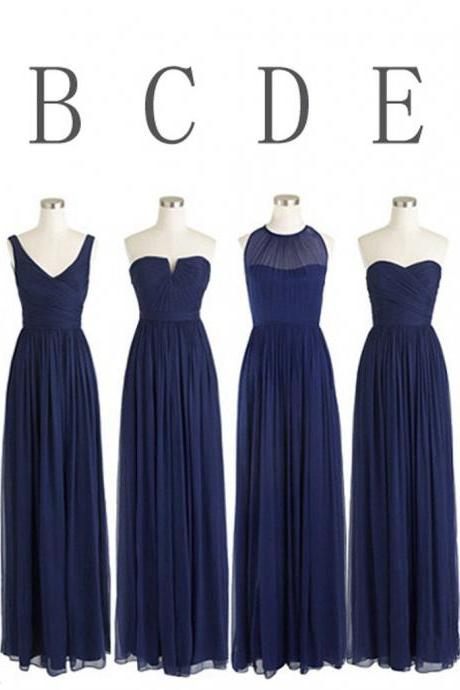 Classic Popular Navy Blue Sleeveless Mismatched Chiffon Formal Different Styles Cheap Floor Length Bridesmaid Dresses,B031