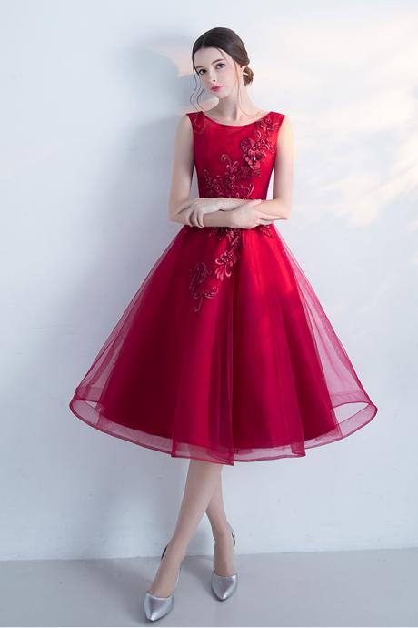 A-line Sleeveless Bateau Tulle Tea-Length Homecoming Dress,New Arrival Graduation Dresses With Flowers,Party Dress,H160