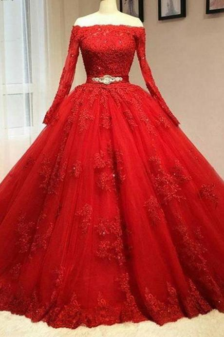 Ball Gown Red Long Sleeves Off the Shoulder Lace Appliques Long Prom Dress,Quinceanera Dresses with Beading Waist,P153