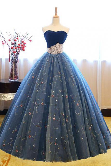 Charming Sweetheart Ball Gown Prom Dress,Blue Tulle Floor-Length Prom Dress with Pearls Beading,Princess Strapless Party Dresses,P160