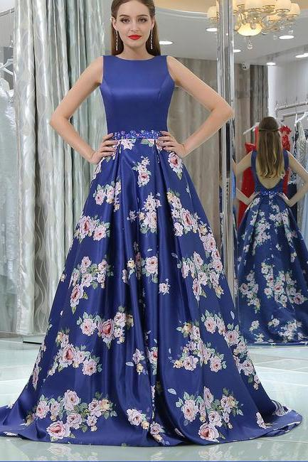 Royal Blue Backless Sleeveless Sweep Train A-line Prom Dress,Long Floral Dresses,New Arrival Formal Dresses,P161