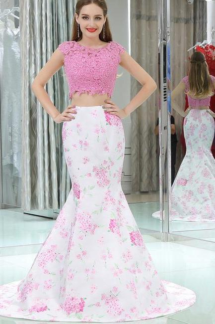 Elegant Two Piece Prom Dress,Pink Mermaid Cap Sleeves Long Floral Prom Dress,Open Back Long Evening Dresses,P162
