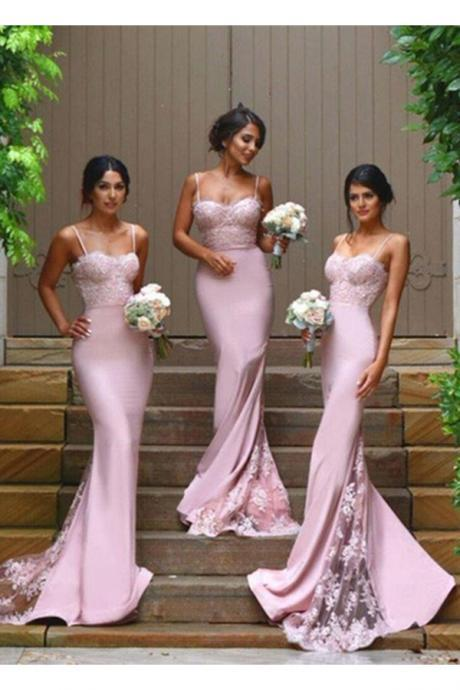 Elegant Pink Spaghetti Straps Mermaid Lace Applique Long Bridesmaid Dress,Sexy Hot Selling Bridesmaid Dress with Lace Appliques,P152