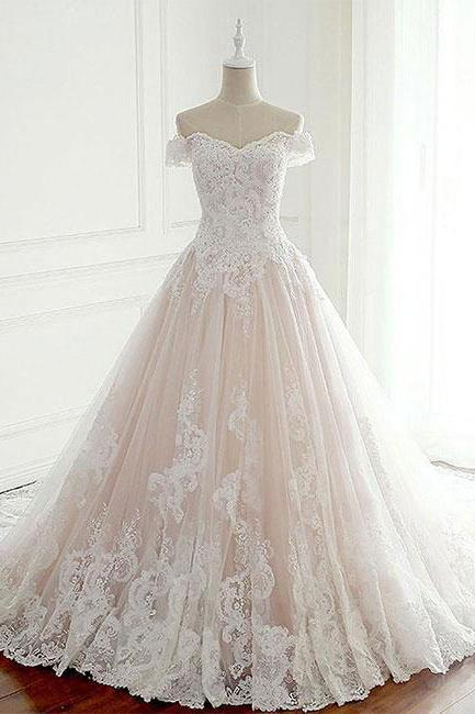 Elegant Off the Shoulder Lace Tulle Wedding Dress,Lace Bridal Dresses,New Bridal Gown,Cheap Wedding Gown,W069