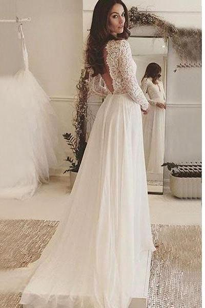 Ivory Sexy Deep V-Neck Long Sleeves Backless Chiffon Wedding Dress with Lace,Beach Wedding Gowns with V Back,W072