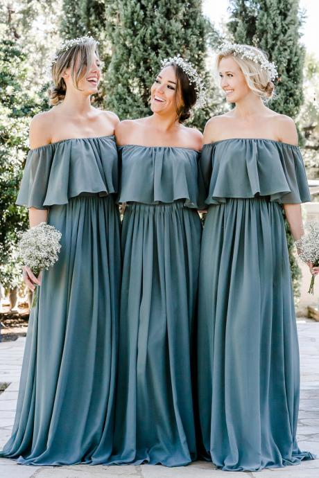 Charming Off the Shoulder Chiffon Bridesmaid Dress,Floor Length Prom Gown,Sexy Bridesmaid Gown,Wedding Party Dress,P229