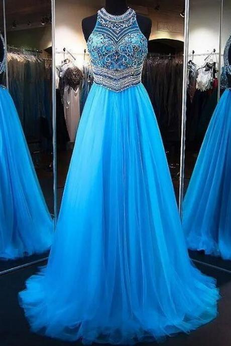 A-Line Blue Tulle Prom Gown,Princess Jewel Sleeveless Brush Train Beading Tulle Dresses,Sweep Train Party Dress,P232