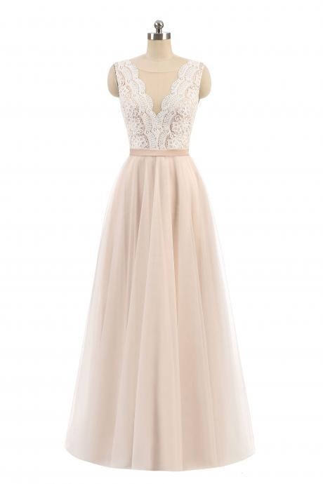 Light Champagne A-line V-neck Sleeveless Tulle Long Prom Dress,Elegant Wedding Dress,Beach Wedding Dress,P240