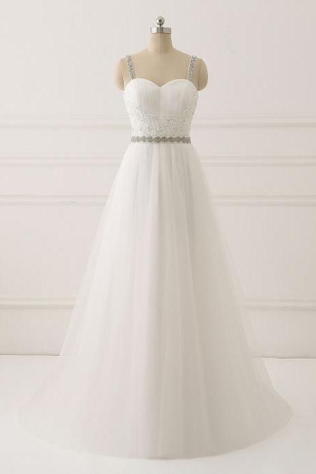 Straps Sweetheart Long Wedding Dress with Beading Waist,Ivory Floor Length Bridal Dress with Appliques,Beach Wedding Gown,W074