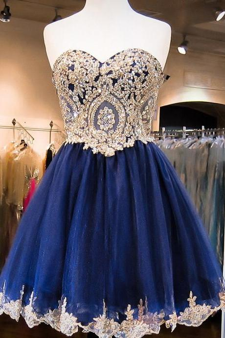 A-line Sweetheart Tulle with Gold Lace Appliqued Homecoming Dresses,Sparkly Short Prom Dress with Beading,H165