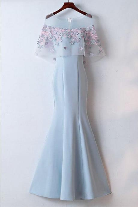 Pretty Light Blue Mermaid Long Prom Dress With Flowers Elegant Long Evening Dresses New Style Unique Prom Gown P255