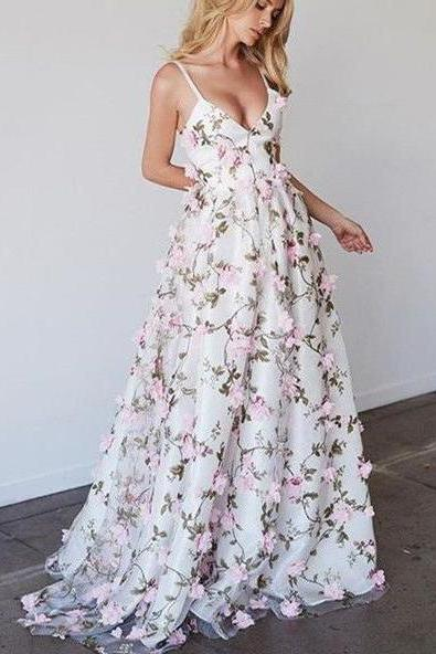 Beautiful Prom Dresses Spaghetti Straps Floral Lace Long Prom Dress, A Line V neck Party Dresses,Charming Long Formal Dress P256