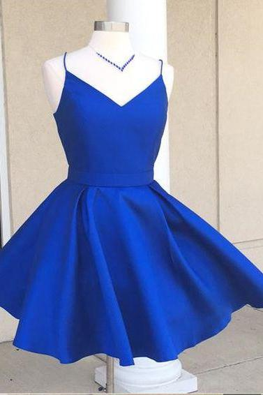 Spaghetti Straps V Neck Mini Prom Dress with Bow, A Line Satin Short Homecoming Dress, Sweet 16 Dresses, Open Back Graduation Dresses H168