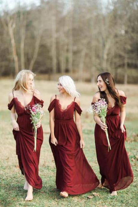 Dark Red Spaghetti Straps Bridesmaid Dress,Elegant Chiffon Bridesmaid Dresses,Long Off-the-Shoulder A-line Wedding Party Dress, B032