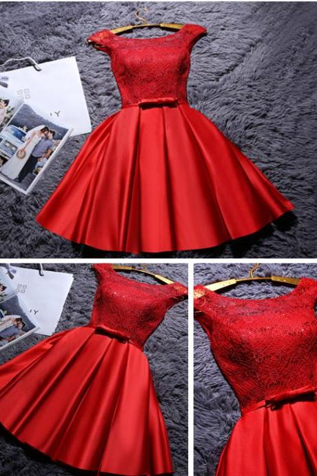 Red Short Satin Homecoming Dress, Cute A Line Mini Graduation Dress with Belt, Short Ruched Prom Dress with Lace H171