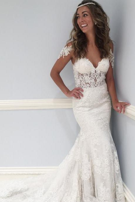 Fancy V Neck Lace Long Wedding Dress with Court Train, Mermaid Backless Bridal Dress, Elegant Lace Bridal Gown, W081