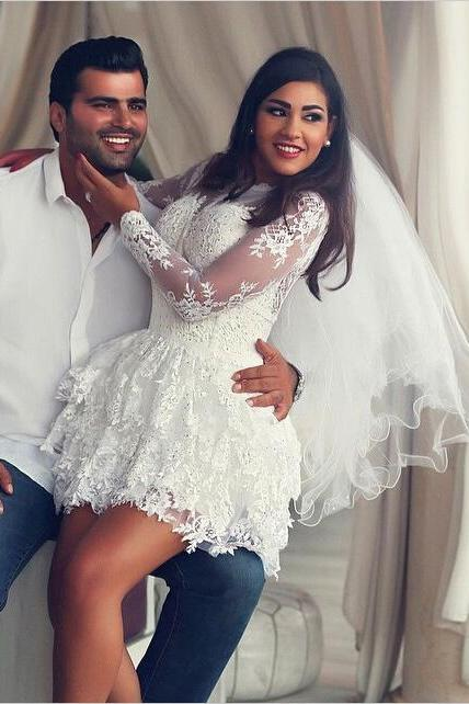 Fashion Scoop Long Sleeves Bridal Dress, Lace Appliques A-line Short Wedding Dresses Bride Gowns, Ivory Long Sleeves Short Bridal Dress, W082