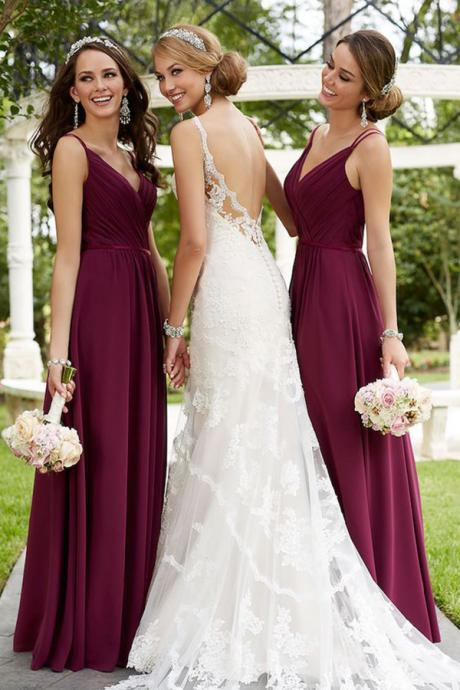 Maroon Spaghetti Straps Bridesmaid Dress,Floor Length V Neck Sleeveless Prom Dress with Pleats, Long Chiffon Wedding Party Dress B038