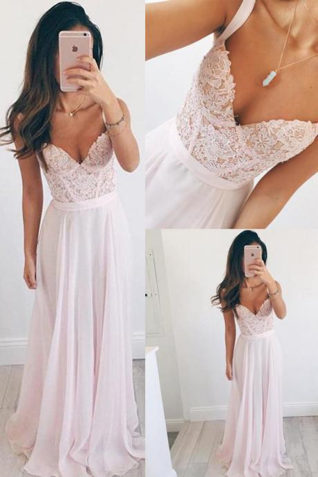 Baby Pink V-neck Long Chiffon Long Prom Dress Evening Dress with Lace Top, Straps Chiffon Long Gown P275
