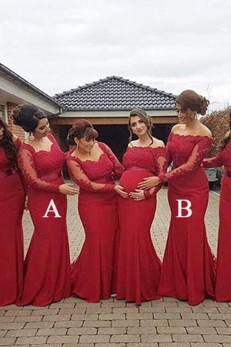 Red Lace Mermaid Long Sleeves Mismatched Long Wedding Bridesmaid Dresses, Mermaid Long Sleeves Bridesmaid Dress with Sash B052