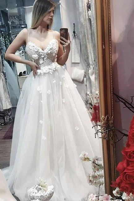 Ivory Sweetheart Spaghetti Straps Tulle Wedding Dress with Flowers, Long Sleeveless Tulle Prom Dress P282