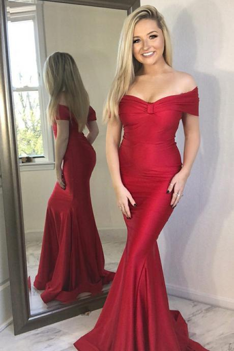 Mermaid Off-the-Shoulder Long Red Prom Party Dress, Sexy Floor Length Trumpet Formal Dresses P284