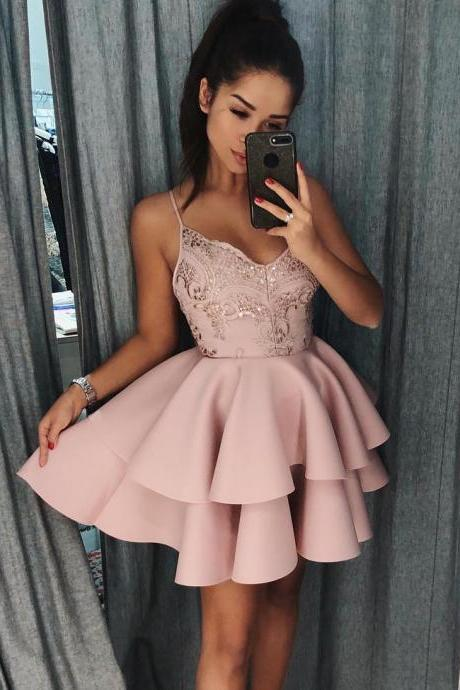 Mini A Line V-neck Graduation Dresses, Spaghetti Straps Short Prom Dresses, Satin Homecoming Dresses, Cheap Party Dresses H189
