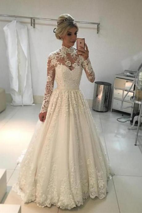 A-line Vintage High Neck Long Sleeves Lace Wedding Dresses,Long High Neck Bridal Dress, Gorgeous Lace Wedding Gown W087