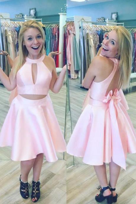Princess Short Pink Homecoming Dress with Key Hole, Two Piece Mini Short Prom Dress, A Line Jewel Sleeveless Homecoming Gown H192