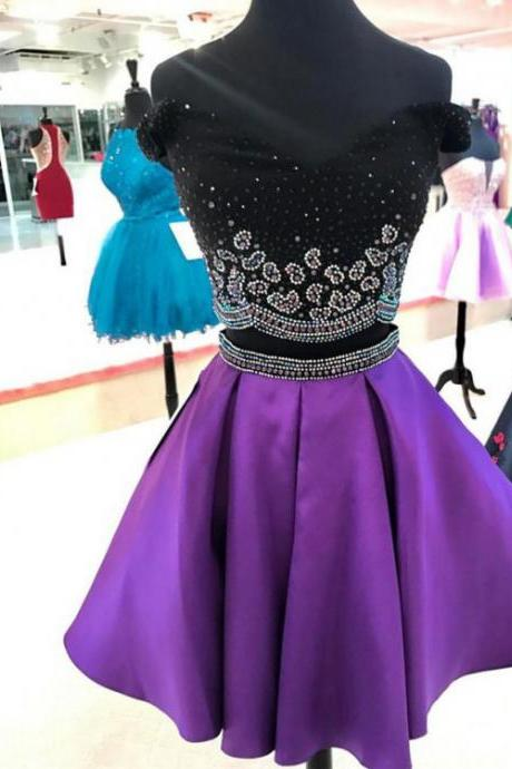 Purple Off the Shoulder Homecoming Dress, Black Top Beading Homecoming Gown, Two Pieces Prom Dress, Cute Sweet 16 Dress, H198