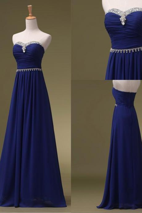 Royal Blue Strapless Chiffon Bridesmaid Dress with Beading, Floor Length Sweetheart Prom Dress with Beads Belt B055