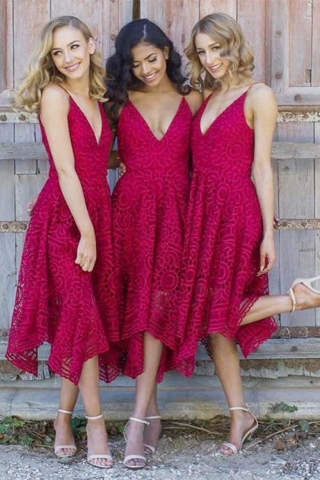 Asymmetry Deep V Neck Lace Bridesmaid Dress, Spaghetti Straps A Line Party Dress, Lace Prom Dress B057