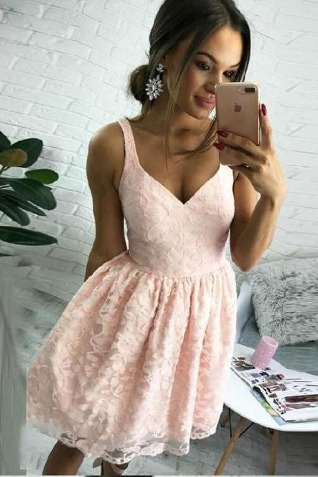 Pink V Neck Short Lace Homecoming Dress, A Line Lace Prom Dresses, Sweet 16 Dress, Pink Lace Graduaton Dress, H205