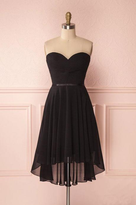 Black Sweetheart High Low Chiffon Dress, A Line Strapless Lace Up Back Sweet 16 Dress, Cheap Short Prom Dress H212