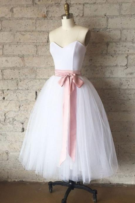 White Sweetheart Tulle Tea Length Homecoming Dress with Pink Belt, Simple Tea Length Prom Dress, Bridesmaid Dresses H213