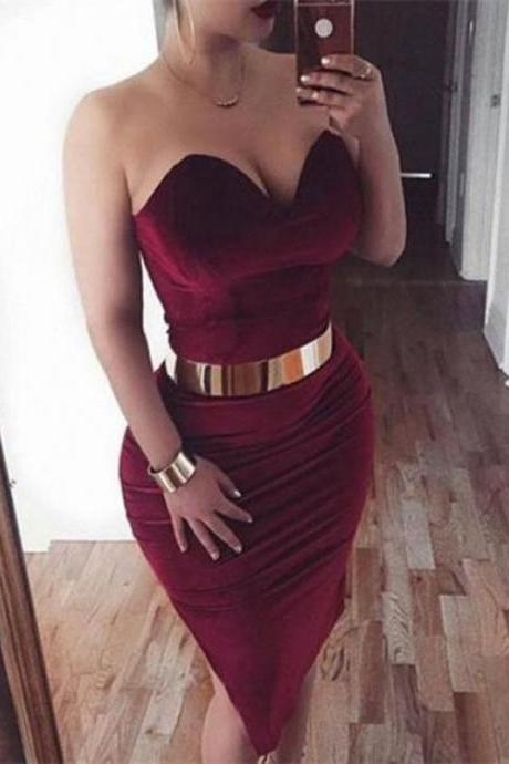 Burgundy Sexy Sheath Knee Length Party Dress with Belt, Simple Sweetheart Short Formal Dress H219