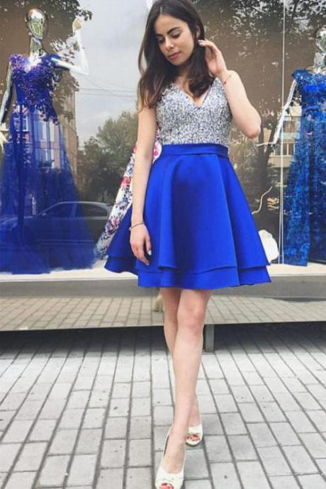 Royal Blue V Neck Short Prom Dresses with Sequins, A Line Sleeveless Party Dress, Sparkle Homecoming Gown H220