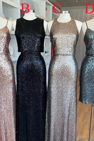 Affordable Mismatched Sequin Long Bridesmaid Dresses, Cheap Unique Custom Long Bridesmaid Dresses, Affordable Prom Dress B062