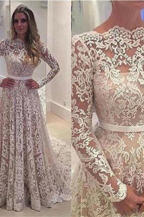 Elegant Lace Long sleeves Wedding Dresses,Cheap Vintage Lace Bridal Dress, Long Sleeves Bridal Gown W090