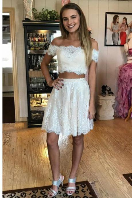 Two Piece Prom Dress, Lace Off Shoulder Homecoming Dress, Two Pieces Lace Short Prom Dress, A Line Off the Shoulder Party Dress H232