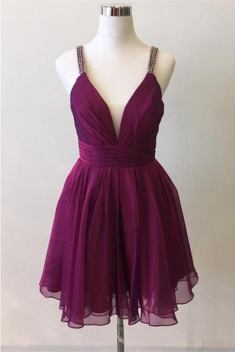 Short Chiffon Homecoming Dress with Pleats, A Line V Neck Graduation Dress with Beading Straps, Mini Pleating Homecoming Gown H249