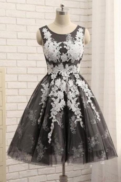 Black Round Neck Tulle Homecoming with Appliques, Cheap A Line Short Cocktail Dress with Lace Applique,New Arrival Sweet 16 Dress H252