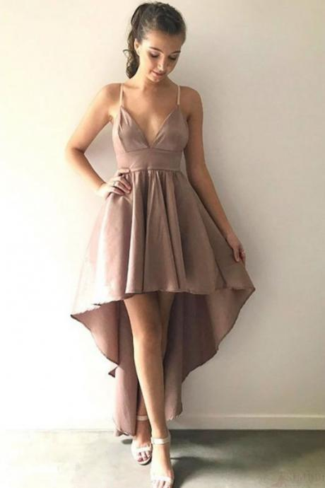 High Low Homecoming Dress, Spaghetti Strap Prom Dresses, A Line Sexy Graduation Dress, High Low Formal Dresses H284